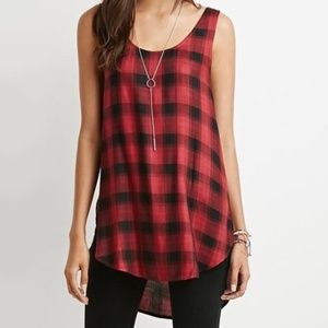 NEW Forever21 Women's Red Plaid Tunic Tank Top - M